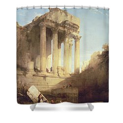 Ruins Of The Temple Of Bacchus Shower Curtain by David Roberts