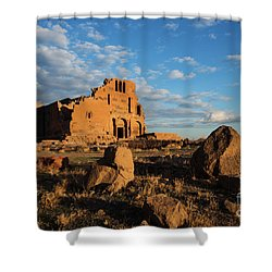 Ruins Of Yereruyk Temple Under Amazing Cloudscape, Armenia Shower Curtain