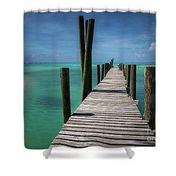 Rum Cay Marina Jetty In Bahamas Shower Curtain by Jola Martysz