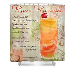 Rum Runner Mixed Cocktail Recipe Sign Shower Curtain by Mindy Sommers