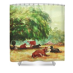 Shower Curtain featuring the painting Rumination by Steve Henderson
