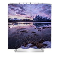 Rundle Mountain Skies Shower Curtain