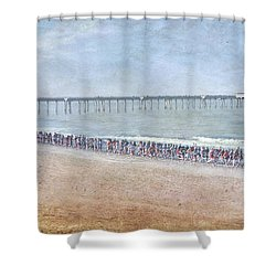 Shower Curtain featuring the photograph Runners On The Beach Panorama by David Zanzinger