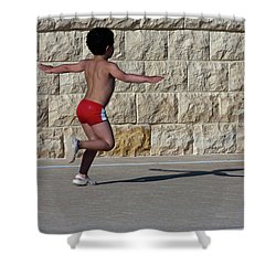 Running Child Shower Curtain by Bruno Spagnolo