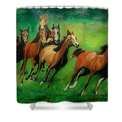 Running Free Shower Curtain by Khalid Saeed