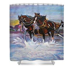 Running Horses- Beach Gallop Shower Curtain