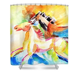 Running Horses Color Shower Curtain by Carlin Blahnik