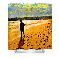 Shower Curtain featuring the painting Running In The Golden Light by Angela Treat Lyon