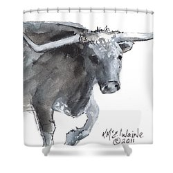Running Texas Longhorn Watercolor Painting By Kmcelwaine Shower Curtain