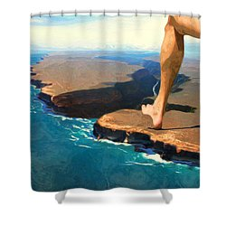 Running On The Edge Shower Curtain by Jack Zulli