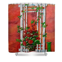 Running Roses Shower Curtain by Melvin Turner