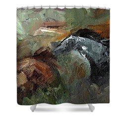 Running Through  Sage Shower Curtain by Frances Marino