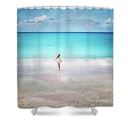 Running To The Sea Shower Curtain