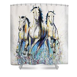 Shower Curtain featuring the painting Running With The Herd Horse Painting by Jennifer Godshalk