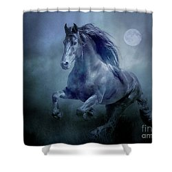Running With The Moon Shower Curtain