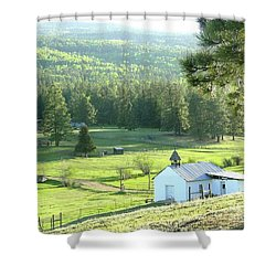 Rural Church In The Valley Shower Curtain by Cindy Croal