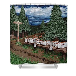 Shower Curtain featuring the painting Rural Delivery by Katherine Young-Beck