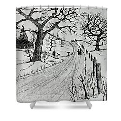 Shower Curtain featuring the drawing Rural Living by Jack G Brauer