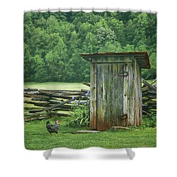 Rural Outhouse Shower Curtain