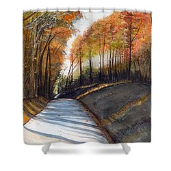 Rural Route In Autumn Shower Curtain