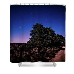 Shower Curtain featuring the photograph Rural Starlit Road by T Brian Jones