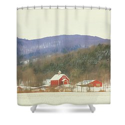 Shower Curtain featuring the digital art Rural Vermont by Sharon Batdorf