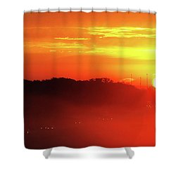 Rush Hour Begins At Sunrise I 94 To Madison Wisconsin Shower Curtain