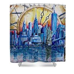 Rush Hour In New York  Shower Curtain by Geni Gorani