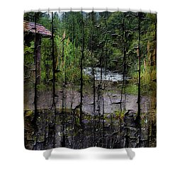 Rushing Cascade In The Andes - On Bark Shower Curtain by Al Bourassa
