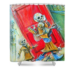 Shower Curtain featuring the painting Rushing by Heather Calderon
