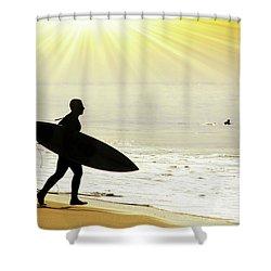 Rushing Surfer Shower Curtain by Carlos Caetano