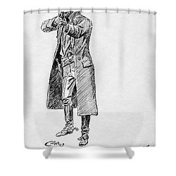 Russell: Stage Robber Shower Curtain by Granger