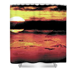 Shower Curtain featuring the painting Russet Sunset by Paula Ayers