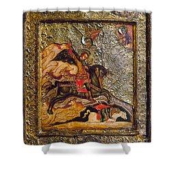 Russian Icon: Demetrius Shower Curtain by Granger