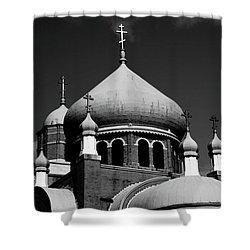 Russian Orthodox Church Bw Shower Curtain by Karol Livote