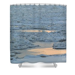 Russian Waterway Frozen Over Shower Curtain by Margaret Brooks