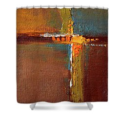 Shower Curtain featuring the painting Rust Abstract Painting by Nancy Merkle