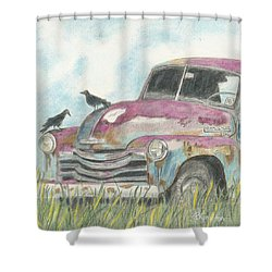 Shower Curtain featuring the drawing Rust In Peace by Arlene Crafton