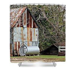 Rusted Tin Shed In Burnt Corn Shower Curtain by Lynn Jordan