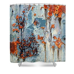 Shower Curtain featuring the photograph Rusted World - Orange And Blue - Abstract by Janine Riley