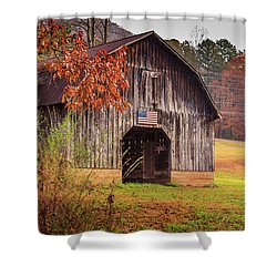 Shower Curtain featuring the photograph Rustic Barn In Autumn by Doug Camara