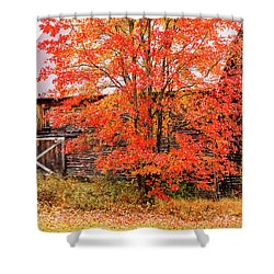 Shower Curtain featuring the photograph Rustic Barn In Fall Colors by Jeff Folger