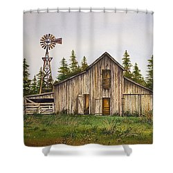 Shower Curtain featuring the painting Rustic Barn by James Williamson