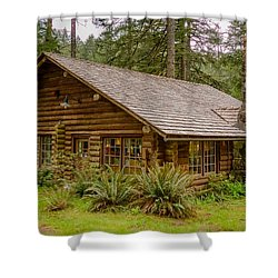 Shower Curtain featuring the photograph Rustic Cabin by Jerry Cahill