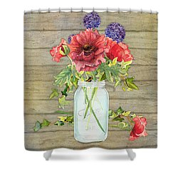 Rustic Country Red Poppy W Alium N Ivy In A Mason Jar Bouquet On Wooden Fence Shower Curtain