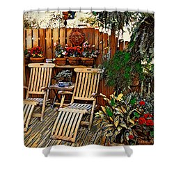 Shower Curtain featuring the digital art Rustic Deck by Pennie McCracken