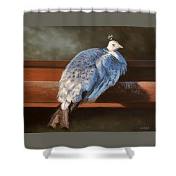 Rustic Elegance - White Peahen Shower Curtain