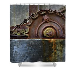 Shower Curtain featuring the photograph Rustic Gear And Chain by David and Carol Kelly