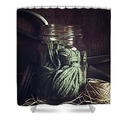 Rustic Green Shower Curtain