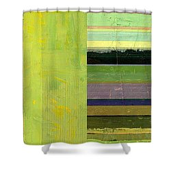 Shower Curtain featuring the painting Rustic Green Flag With Stripes by Michelle Calkins